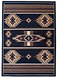 Rugs 4 Less Collection Southwest Native American Indian Area Rug Design R4L SW3 in Black(8'x10')