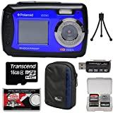 Polaroid iE090 Dual Screen Shock & Waterproof Digital Camera (Blue) with 16GB Card + Case + Tripod + Reader + Kit