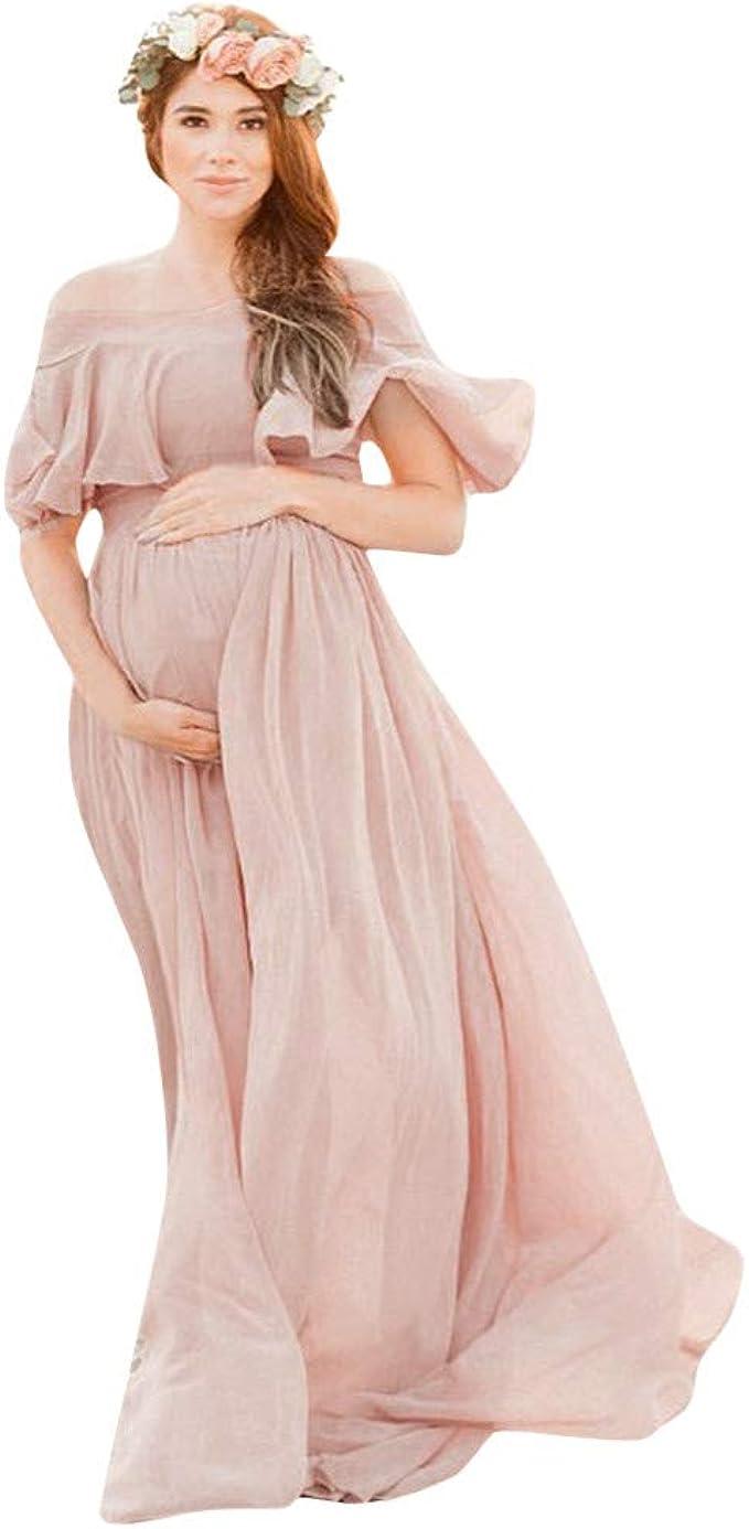 Rüschen Off Shoulder Kleid Lang Umstandskleider Hochzeit Fotografie  Schwangerschaftskleid Umstands Strandkleid Elegantes Kleider für Festliche  Anlässe