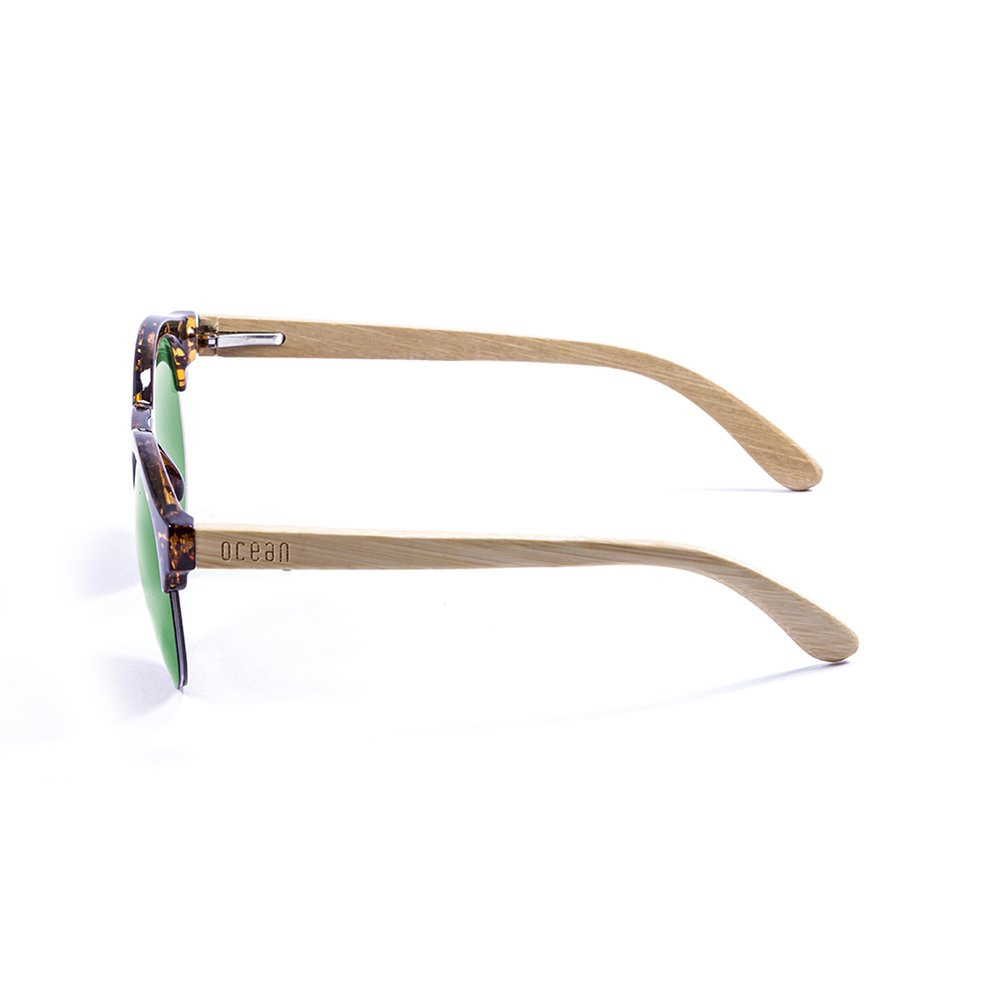 Ocean Sunglasses Sotavento Lunettes de Soleil Mixte Adulte, Demy Brown Frame/Wood Natural Arms/Revo Green Lens