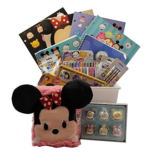 Disney Tsum Tsum Easter Gift Basket with Minnie Plush Journal, Exclusive Pastel Parade, Metallic School Bus Figures - for Easter Basket Fillers, Gift, Birthday or Get Well Gift