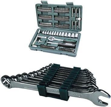 Mannesmann M29166 - Maletín con juego de llaves de vaso y puntas de destornillador (130 piezas) + Mannesmann M19652 Juego de 12 llaves combinadas 6 a 22 CV: Amazon.es: Bricolaje y herramientas
