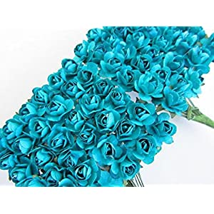 Worldoor Pack of 144pcs Turquoise Artificial Mini Paper Rose Flower Wedding Card Scrapbooking DIY Craft Embelishment