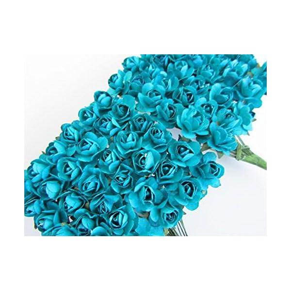 Worldoor Pack of 144pcs Turquoise Artificial Mini Paper Rose Flower Wedding Card Scrapbooking DIY Craft Embelishment