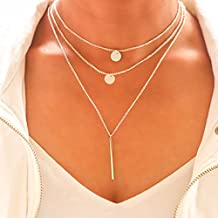 Tgirls Layered Sequin Necklaces with Bar Pendant for Women and Girls XL-66 (Silver)
