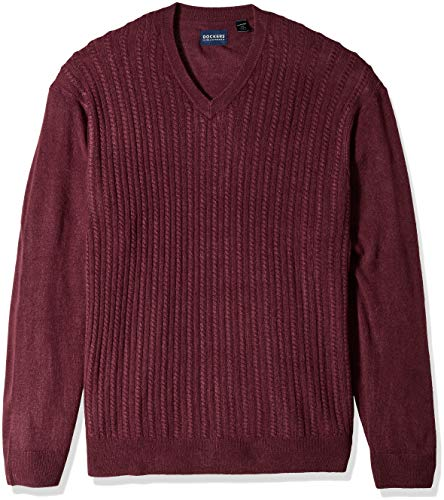 Dockers Men's Soft Acrylic V-Neck Cable Stitch Sweater, Winetasting Black, XL