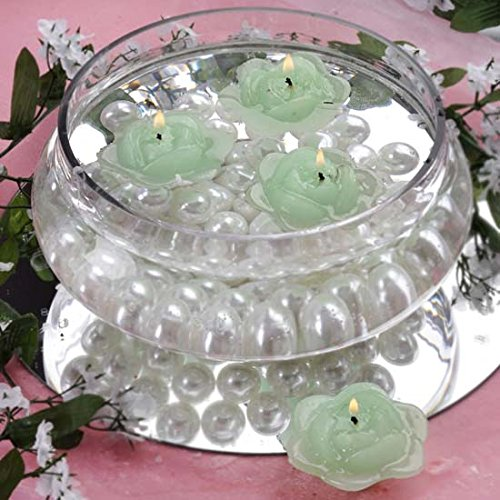 Floating Set Green Candles - Efavormart Set of 20 Green Unscented Floating Rose Candle for Wedding Party Birthday Centerpieces Home Decorations Supplies