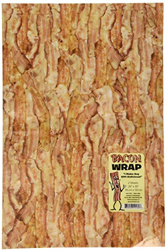 2 Sheets Crispy Bacon Gift Wrapping Paper (Bacon Birthday Party Supplies)