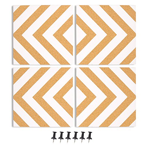 Board Designs Cork - Juvale 4-Pack Cork Bulletin Board - Decorative Tiles Chevron Design Printing - Perfect Pinning Memos Reminders in Your Kitchen, Office Class Room - 7.8 x 7.8 x 0.02 inches