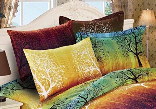 A Pair of Rainbow Tree Pillowcases (Queen, Green) - Rainbow Tree Duvet Cover