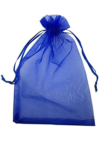 MELUOGE 100pcs 6X9 Inches Organza Drawstring Jewelry Pouches Bags Party Wedding Favor Gift Bags Candy Bags (Royal Blue)