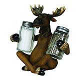 River's Edge Hand Painted Poly Resin  Salt and Pepper Shaker Set (Moose)