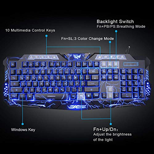 55ae5a46504 BlueFinger Gaming Keyboard Mouse Headset Combo,USB Wired 3 Color Crack  Backlit Keyboard,Blue