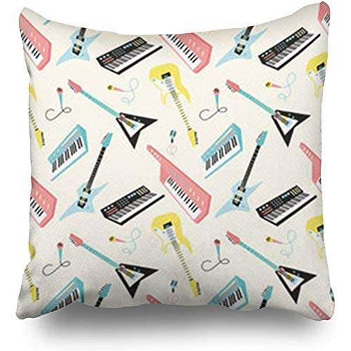 Anmbsk Throw Pillow Case Retro 80S Musical Instruments Textures Music Miscellaneous Piano Guitar Square Size 18 x 18 inches Decorative Pillow Cases Home Decor Zippered Cushion Pillowcases