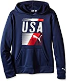 PUMA Big Boys' USA Olympic Hoodie and Carry Sack, Deep Navy, Large (14/16)