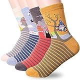 Famous Japanese Animation Print Crew Socks, 4 Pairs, One Size