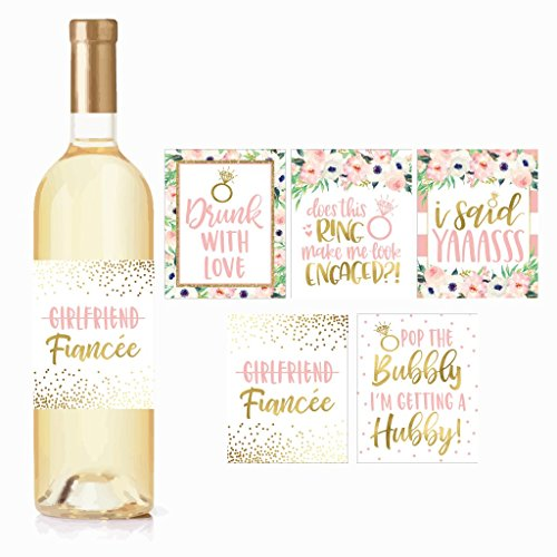 5 Engagement Party Gift Wine Labels Stickers, Cute Pink Gold Newly Engaged Decoration Supplies For Couples Men Women I'm Does This Ring Make Me Look Just Engaged Funny Wedding Ideas For Him Her Fiance by Hadley Designs
