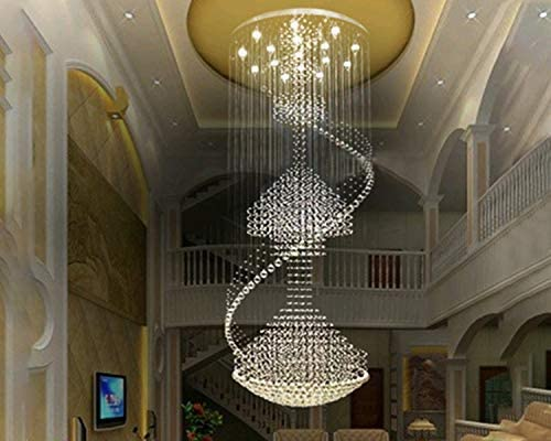 Large Foyer Entryway White Wrought Iron & Crystal Chandelier