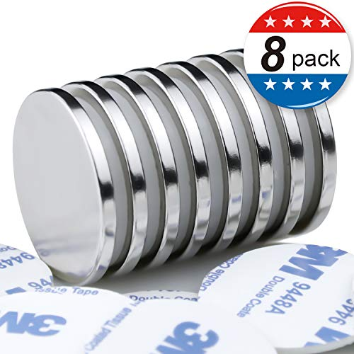 MIKEDE Super Strong Neodymium Disc Magnets with Double-Sided Adhesive - 1.26 inch D x 1/8 inch H (8 PCS)