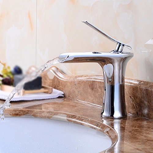 AWXJX Sink Faucet Bathroom European Style Copper Hot and Cold Waterfalls Single Hole
