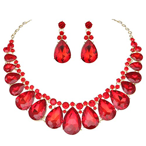 Youfir Water Drops Austria Crystal Necklace Earrings Set for Bridal Wedding Ceremony Events Dress(red) ()