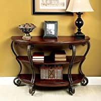 Home Cohler Elegant Glass Top Half-Moon Sofa Table