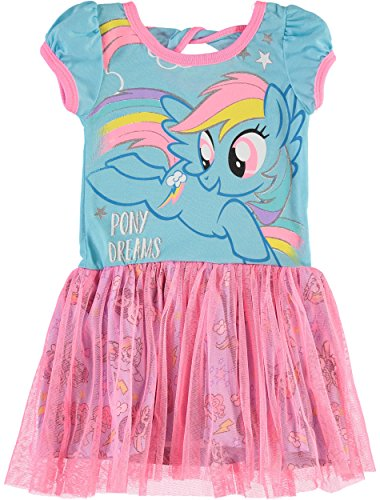 My Little Pony Toddler Girls' Tulle Dress Rainbow Dash, Blue and Pink (2T) - Infant Girls Pony