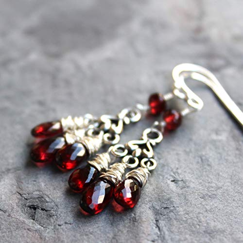 Petite Chandelier Garnet Earrings Sterling Silver Red Gemstone Romantic teardrops 1.9 Inch