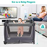 HONEY JOY Pack and Play with Bassinet, 4-in-1 Baby