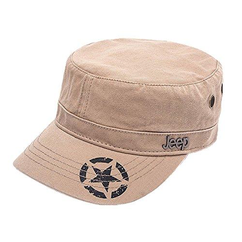 Jeep Unisex Star Print Adjustable Military Cap Hat (Apricot, Free Size)