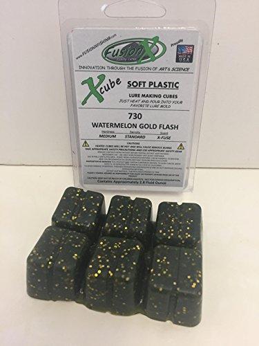Fusion X Fishing - Xcube Soft Plastic Plastisol Fishing Lure Making Cubes - Single Pack 2.8 fl oz - 225 Colors - Make Your own Soft Plastic Rubber Fishing Lures. (730 - Watermelon Gold Flash)