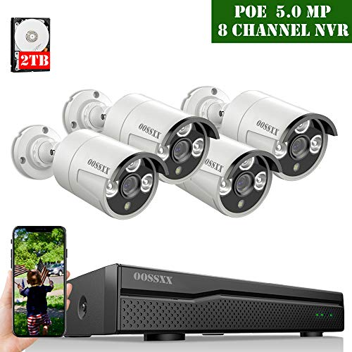 【2020 Update】 POE Security Camera System,OOSSXX 8CH 5MP POE System,4pcs 5MP Outdoor Wired POE IP67 Waterproof Cameras,2TB Hard Drive pre-Install