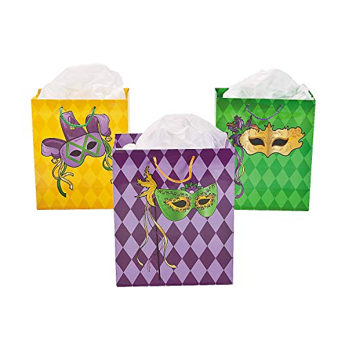 Fun Express - Med Masquerade Gift Bags for Mardi Gras - Party Supplies - Bags - Paper Gift W & Handles - Mardi Gras - 12 Pieces ()