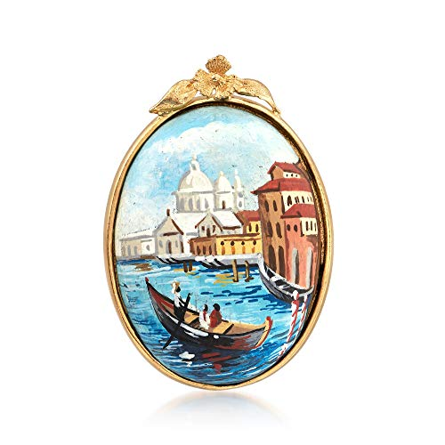 Ross-Simons Italian Lava Stone Cabochon Pin in 18kt Gold Over Sterling (Cabochon Gold Brooch)