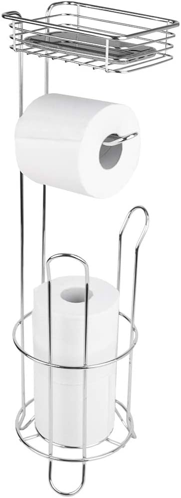 Home Basics Free Standing Dispensing Toilet Paper Holder with Built-in Accessory Tray Phone Holder, Silver