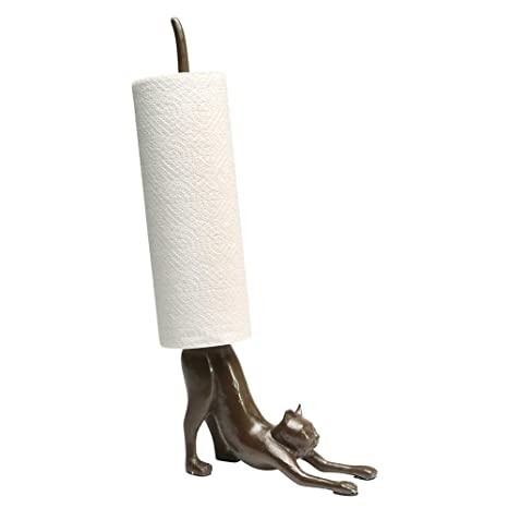 Elegant Paper Towel Stand   Yoga Cat Cast Iron Holder   Exclusive From What On Earth