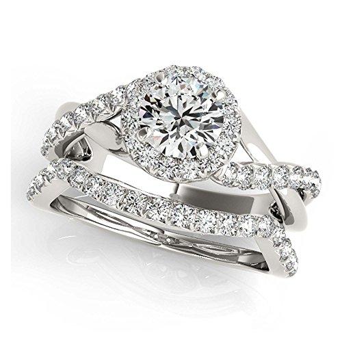 14K White Gold Unique Wedding Diamond Bridal Set Style MT50886