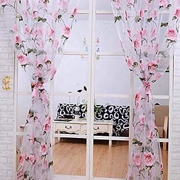 Modern Floral Tulle Traitements De Fenetre Rideaux Transparents Pour