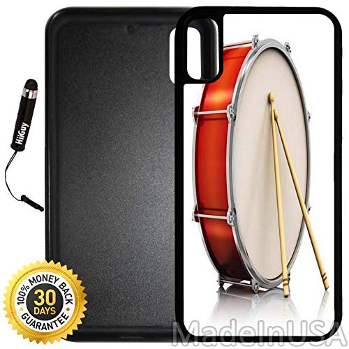 (Custom iPhone X Case (Big Drum with Two Drumstick) Edge-to-Edge Rubber Black Cover with Shock and Scratch Protection | Lightweight, Ultra-Slim | Includes Stylus Pen by INNOSUB)