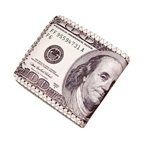 Novelty Mens Wallet, Clearance! Tloowy US Dollar Bill Print Slim PU Leather Bifold Wallet Card Holder Case for Men (A)