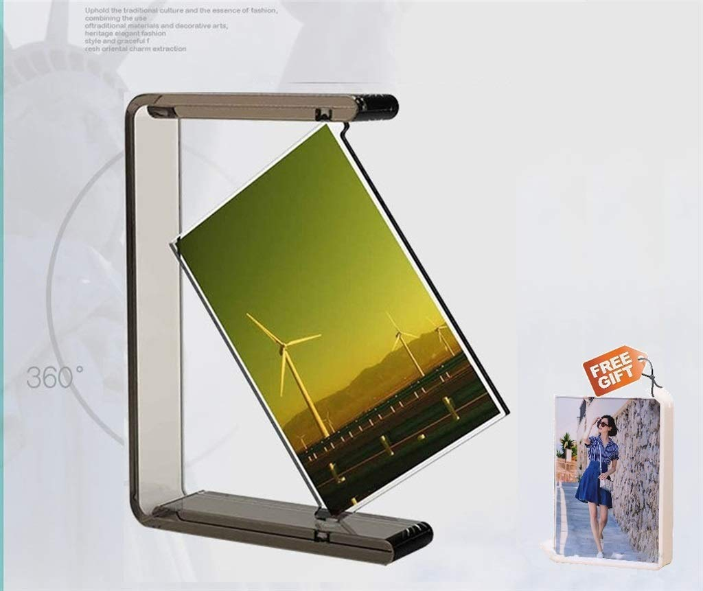 cherry cheers 360 Degrees Unique Desing Acrylic Double Sided Picture Frame (Black), Rotating Photo Frame, with Fujifilm Size Mini Frame (White) Gifted by 🍒Cherry Cheers🍒