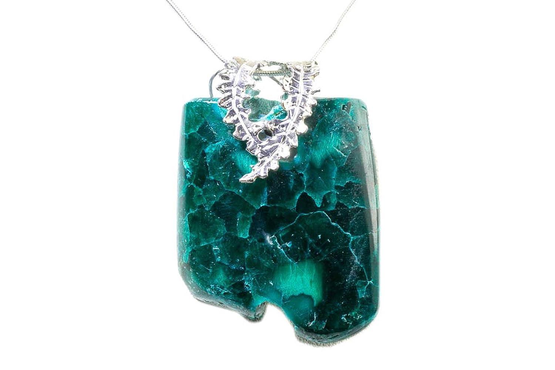 Dioptase stone pendant and pierced silver 915 amazon jewellery aloadofball Gallery