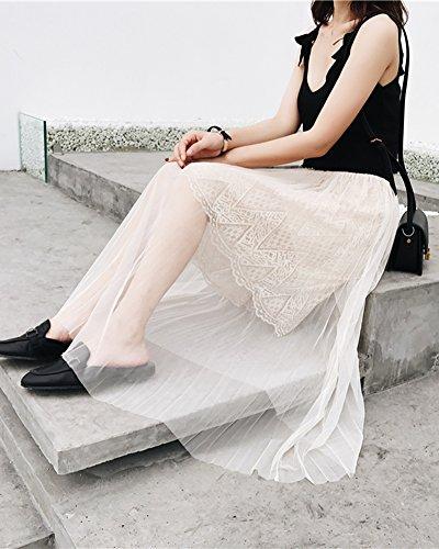 pissure Longue en Elegant Tulle Fluide Unie Jupe DianShaoA Femme Couleur Abricot Dentelle q6AwvAI
