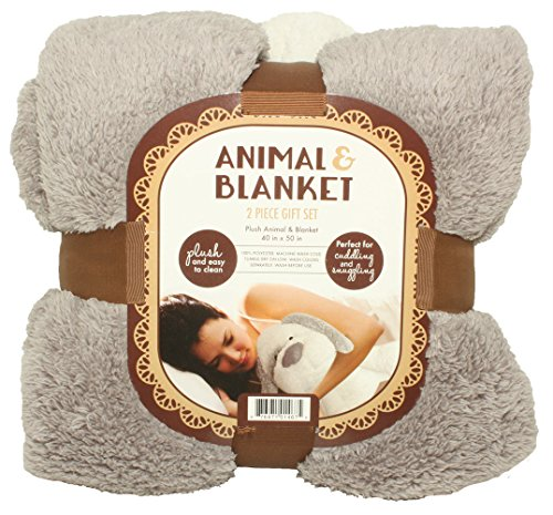 SILVER ONE Sherpa Plush Stuffed Animal and Throw Blanket 2 Peice Gift Set for Kids/Children | 40'' x 50'' Soft Plush Throw | Get Well Gift, Grey Dog by SILVER ONE (Image #1)