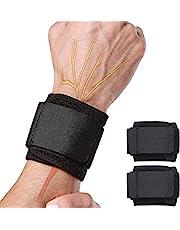 Libershine 2 szt. podnoszenie ciężarów bandaże, opaski na nadgarstki, wsparcie nadgarstka do trójboju siłowego, kulturystyki, podnoszenie ciężarów jeden rozmiar pasuje do lewej lub prawej dłoni dla mężczyzn i kobiet