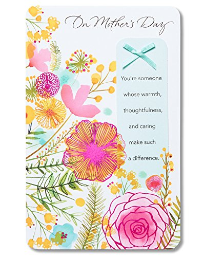 Bookmark Mothers Day - American Greetings Warmth Thoughtfulness and Caring Mother's Day Greeting Card with Keepsake Bookmark