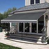 MCombo 10x8 Feet Manual Retractable Patio Door Window Awning Sunshade Shelter Outdoor Canopy (Grey)