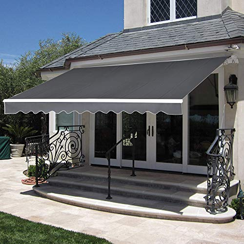 MCombo 10×8 Feet Manual Retractable Patio Door Window Awning Sunshade Shelter Outdoor Canopy Grey