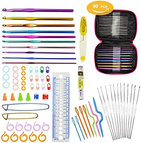 Ganchos de crochet – Juego de 90 agujas de ganchillo de aluminio para tejer con estuche rosa para regalo de mujer: Amazon.es: Juguetes y juegos