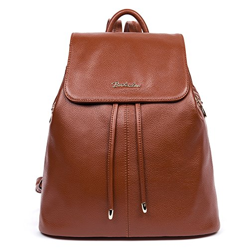 BOSTANTEN Women's Leather Backpack Purse Travel School Bag Casual Daypack Brown